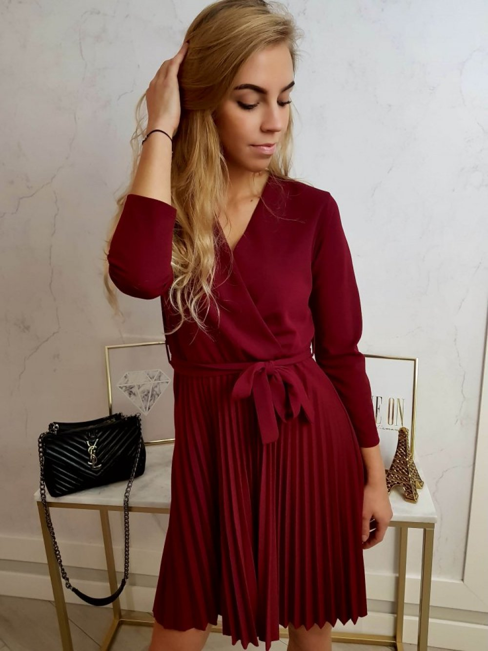 Sukienka Plisowana Bordo