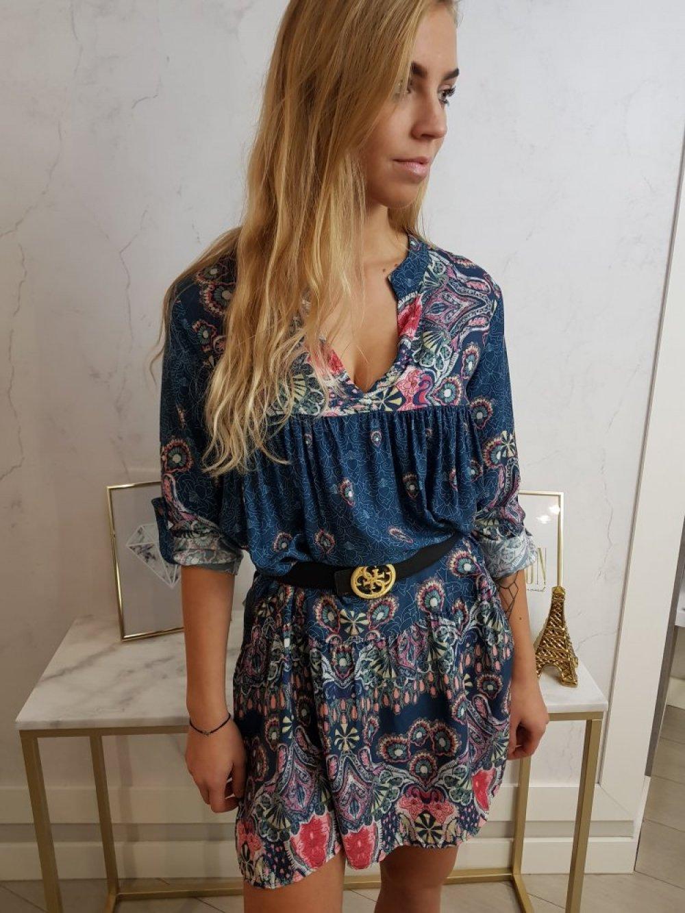 Sukienka Pawie Oko Niebieska