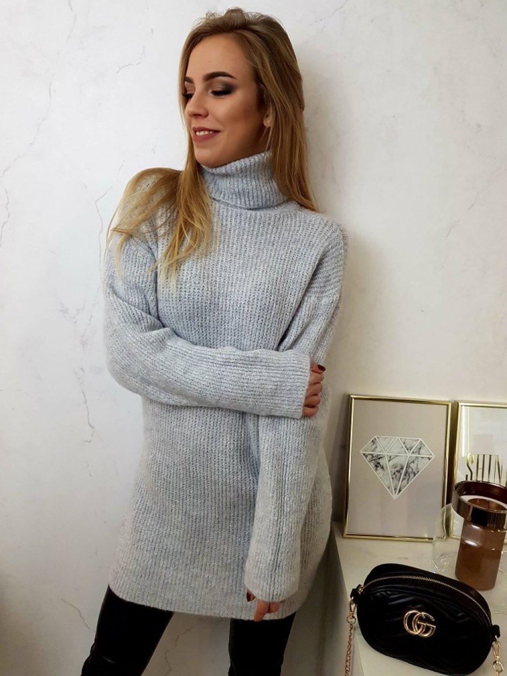 Sweter Long Szary