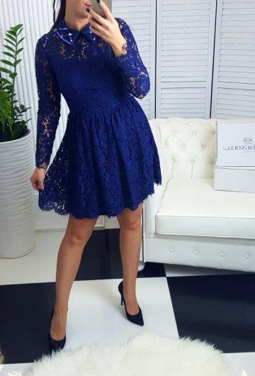Sukienka Koronkowa Granat