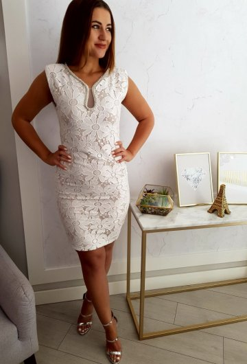 Sukienka Drole Biała Koronkowa
