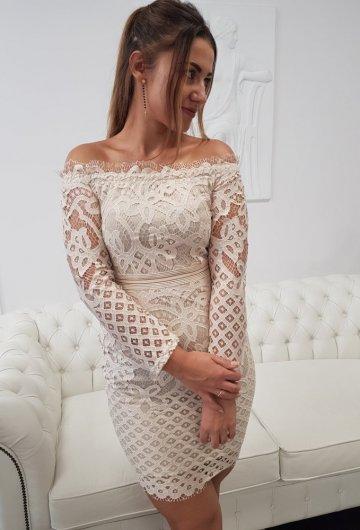 Sukienka Koronkowa Beżowa