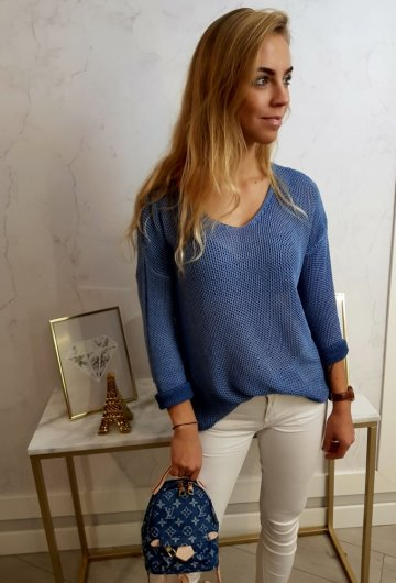Sweterek Ażurowy Granat