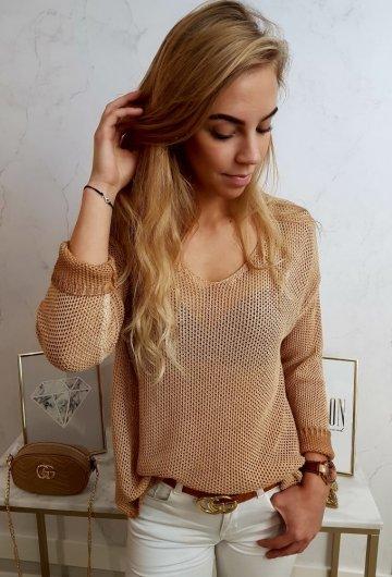 Sweterek Ażurowy Camel