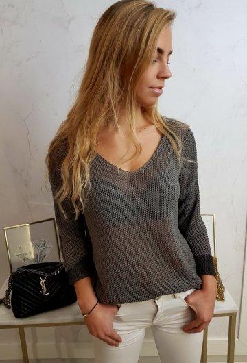Sweterek Ażurowy Brąz