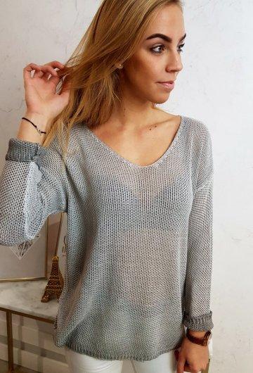 Sweterek Ażurowy Szary