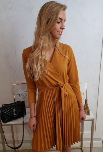Sukienka Plisowana Musztarda