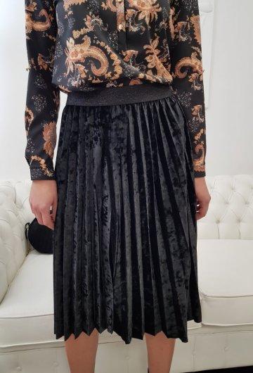 Spódnica Plisowana Aksamit Czarna