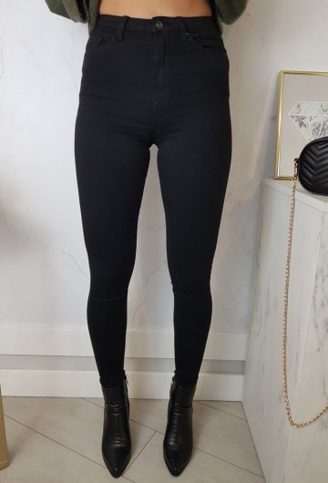 Spodnie Czarne Toxik z Wysokim Stanem