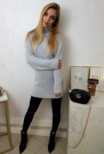 Sweter Long Szary 1