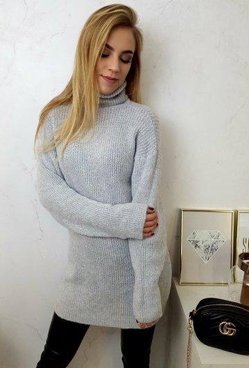 Sweter Long Szary 2