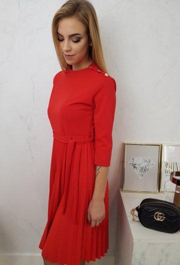 Sukienka Plisowana Czerwona
