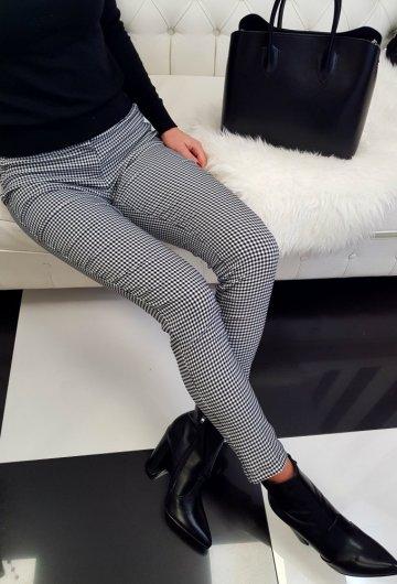 Spodnie Biało-Czarne w Kratkę