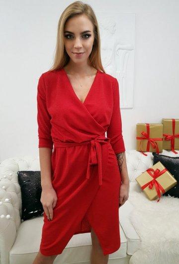 Sukienka z Przekładanym Dekoltem