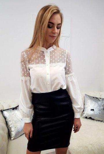 Koszula Biała Groszki