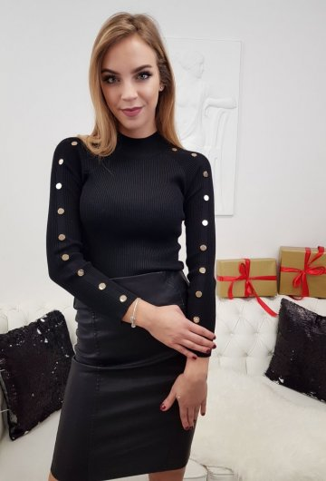 Bluzka Dzianinowa Czarna