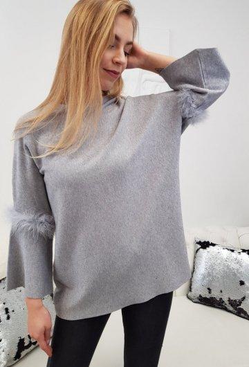 Sweterek Piórka Szary