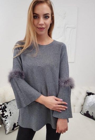 Sweterek Piórka Grafitowy
