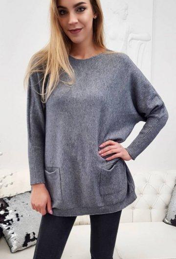 Sweter Kieszenie Szary