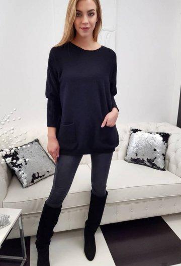 Sweter Kieszenie Czarny