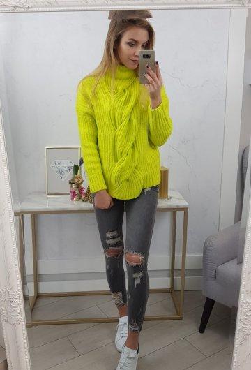 Sweter Warkocz Limonka