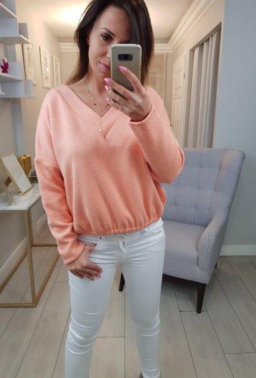 Sweterek V Pomarańczowy