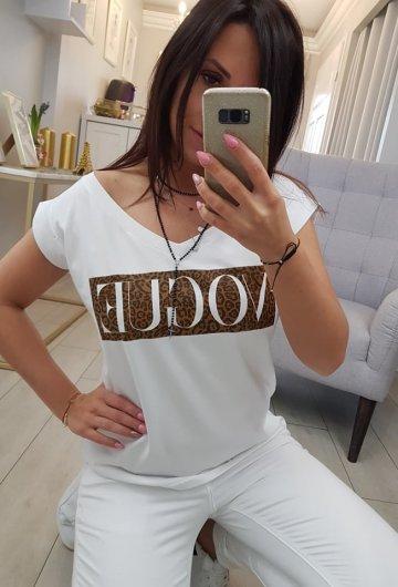 Bluzka V-neck Vogue Biała